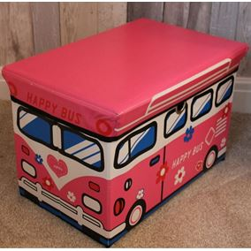 Foldable Children's Storage Box with Seat