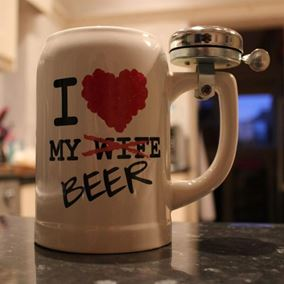 Beer Mug with Bicycle Bell
