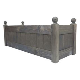 34'' Classic Chestnut Stain Wooden Planter Trough with Plastic Liner