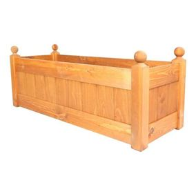 34'' Classic Beech Stain Wooden Planter Trough with Plastic Liner