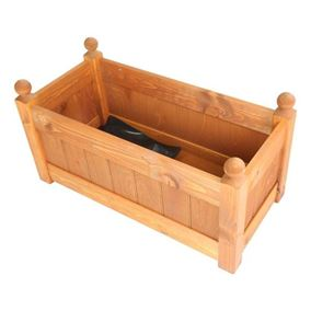 26'' Classic Beech Stain Wooden Planter Trough with Plastic Liner