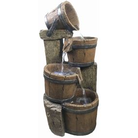 4 Pouring Wooden Barrels Lit Water Feature