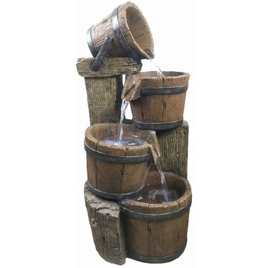 4 Pouring Wooden Barrels Water Feature with LED Lights