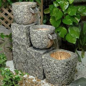 Granite Column Triple Bowls Lit Water Feature