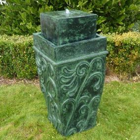 Green Antique Ornate Vase Water Feature