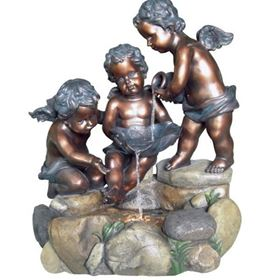 Three Bronze Cherubs at Rock Pool Water Feature