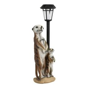 Meerkat with Colour Changing Solar Lampost
