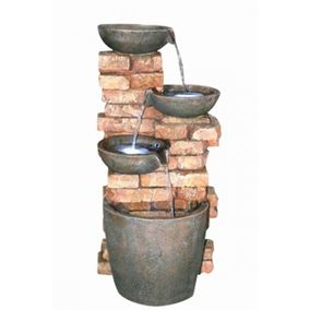 Four Bowls on Brick Wall Lit Water Feature with LED Lights