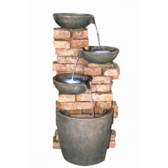 Four Bowls on Brick Wall Lit Water Feature