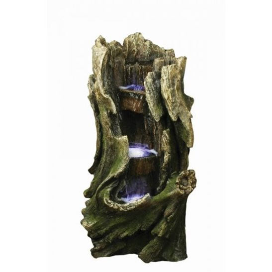 Three Level Tree Trunk Lit Water Feature