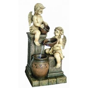 Two Angels with Spilling Urns Water Feature