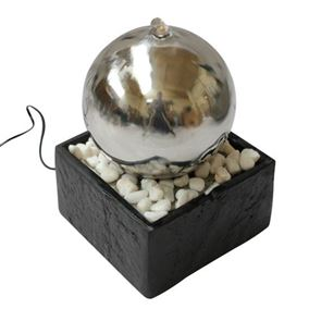 Orb Indoor Water Feature with Stone Base & LED Light