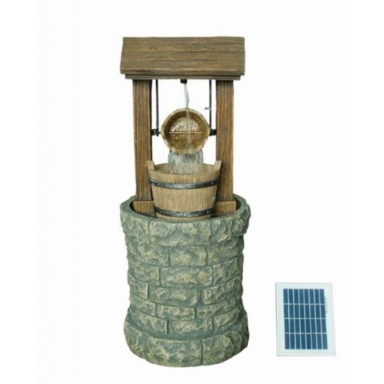 Solar Powered Wishing Well Water Feature with Battery Back Up