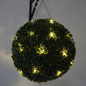 Pre Lit Topiary Ball 30cm (20 Warm White LED Lights)