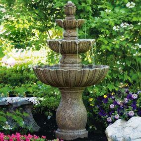 Mirabella Scallop Four Tier Cast Stone Fountain (Burro Brown Stone)