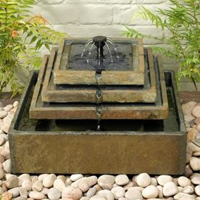 Slate Tiered Solar Fountain Water Feature
