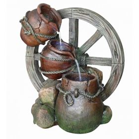 Pouring Urns Cartwheel Garden Water Feature with LED Lights