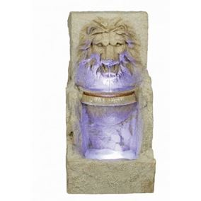 Large Lion Head With Bowl Lit Water Feature