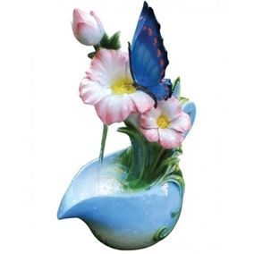 Blue Butterfly On Jug Lit Water Feature