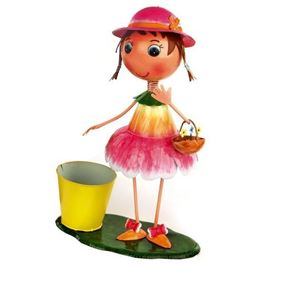 Girl in Pink Skirt and Sun Hat Metal Garden Planter