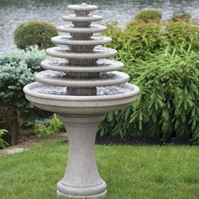 Seven Tier Gozo Fountain on Pedestal