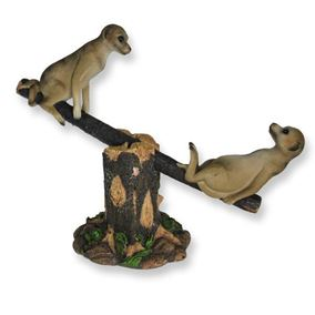 Meerkats On Seesaw Garden Ornament