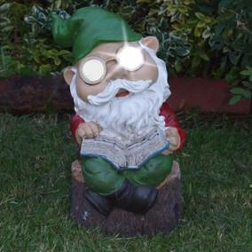 Solar Powered Legs Crossed Reading Gnome