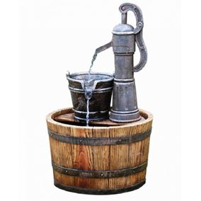 Pump on Wooden Barrel Water Feature (Solar Powered)