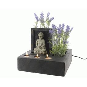 Buddha Fountain Indoor Water Feature with Tealight Holders
