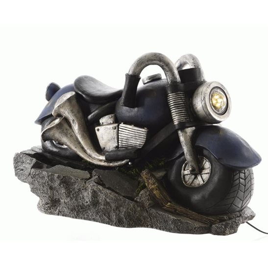 LED Motorcycle Fountain with Mist Maker and Light