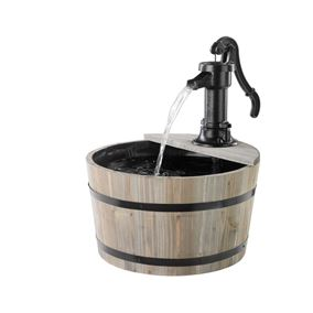 Fir Wood Barrell Drum Water Feature with Cast Iron Pump