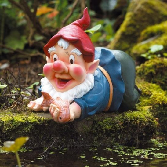 Caught in the act gnome pond ornament for Garden pool ornaments