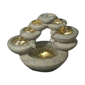 7 Fall Oval Bowls Modern Lit Water Feature