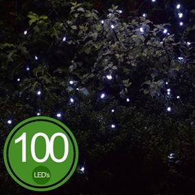 100 White LED Solar Light String Set