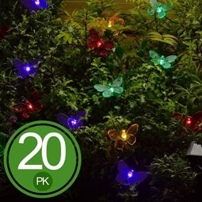 20 Coloured Solar Butterfly LED Garden Light String