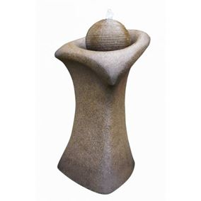 Brown Ribbed Sphere on Column Water Feature