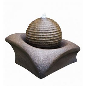 Brown Ribbed Sphere on Base LED Lit Water Feature