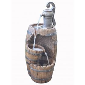 Three Fall Barrel with Pump Garden Water Feature
