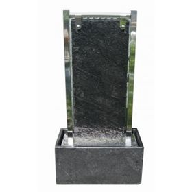 Canberra LED Lit Black Granite & Stainless Steel Water Feature