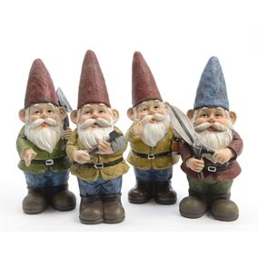 Gardening Worker Novelty Gnomes (Set of 4)