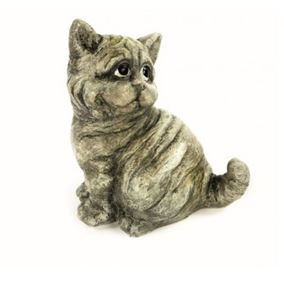Weathered Look Sitting Kitten Garden Ornament