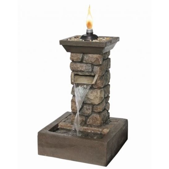 Brick Effect Column with Real Flame Water Feature
