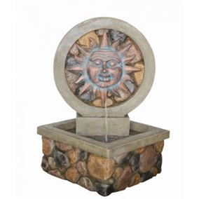 Brick Effect Sun Face LED Lit Water Feature