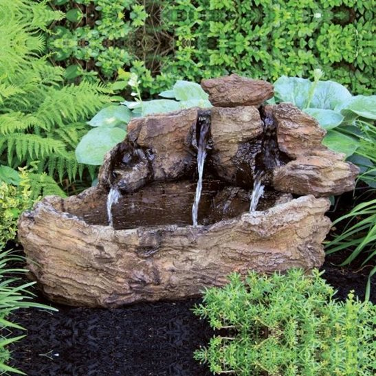 Large Log Fountain Cast Stone Water Feature