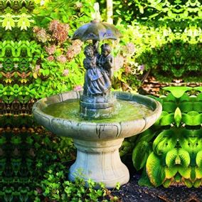 One Tier Small Boy & Girl Under Umbrella Fountain Cast Stone Water Feature