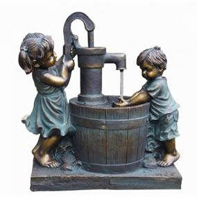 Boy & Girl at Barrel Water Feature (Solar Powered)