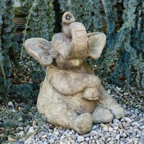 Sitting Elephant Plumbed Cast Stone Pond Spitter