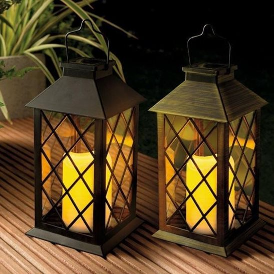 Solar Traditional Candle Lantern Black