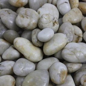 15KG Bag White Polished River Pebbles