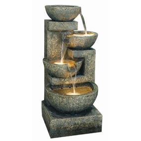 Large Granite Four Bowl Water Feature with Lights